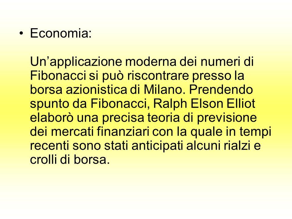 Economia: Unapplicazione moderna dei numeri di Fibonacci si può riscontrare presso la borsa azionistica di Milano. Prendendo spunto da Fibonacci, Ralp