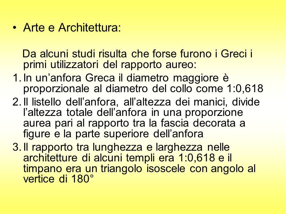 Arte e Architettura: Da alcuni studi risulta che forse furono i Greci i primi utilizzatori del rapporto aureo: 1.In unanfora Greca il diametro maggior
