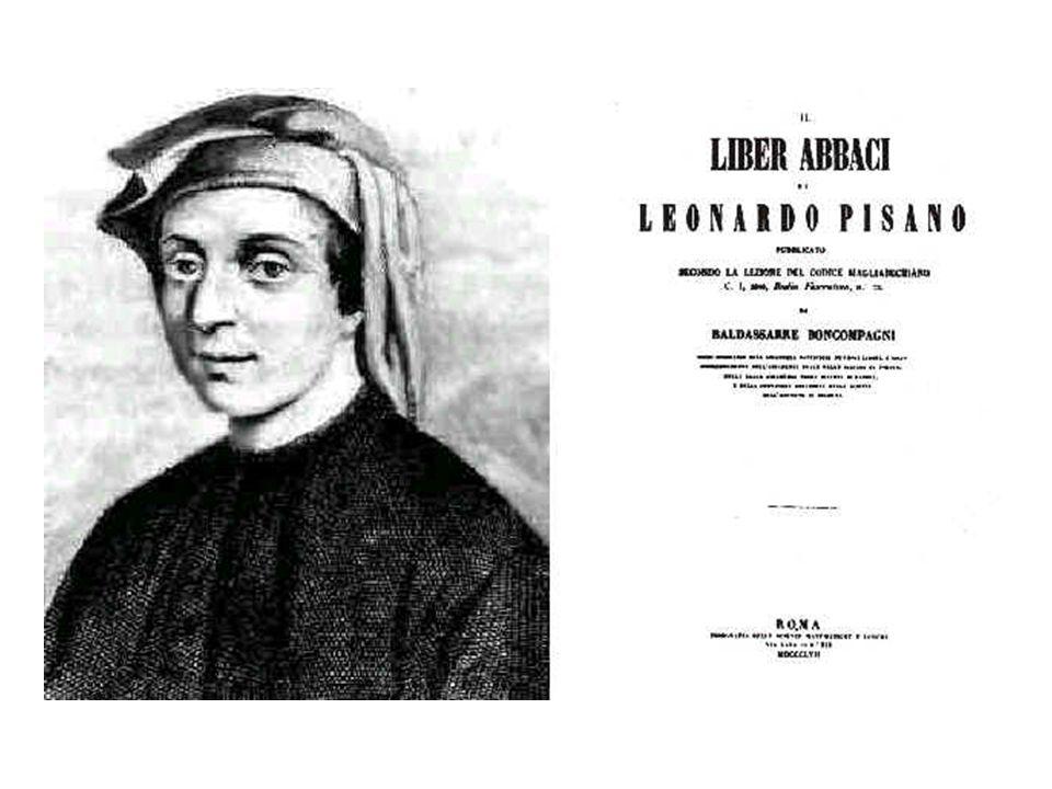 LIBER ABACI Pubblicato la prima volta nel 1202 e rivisto nel 1228.