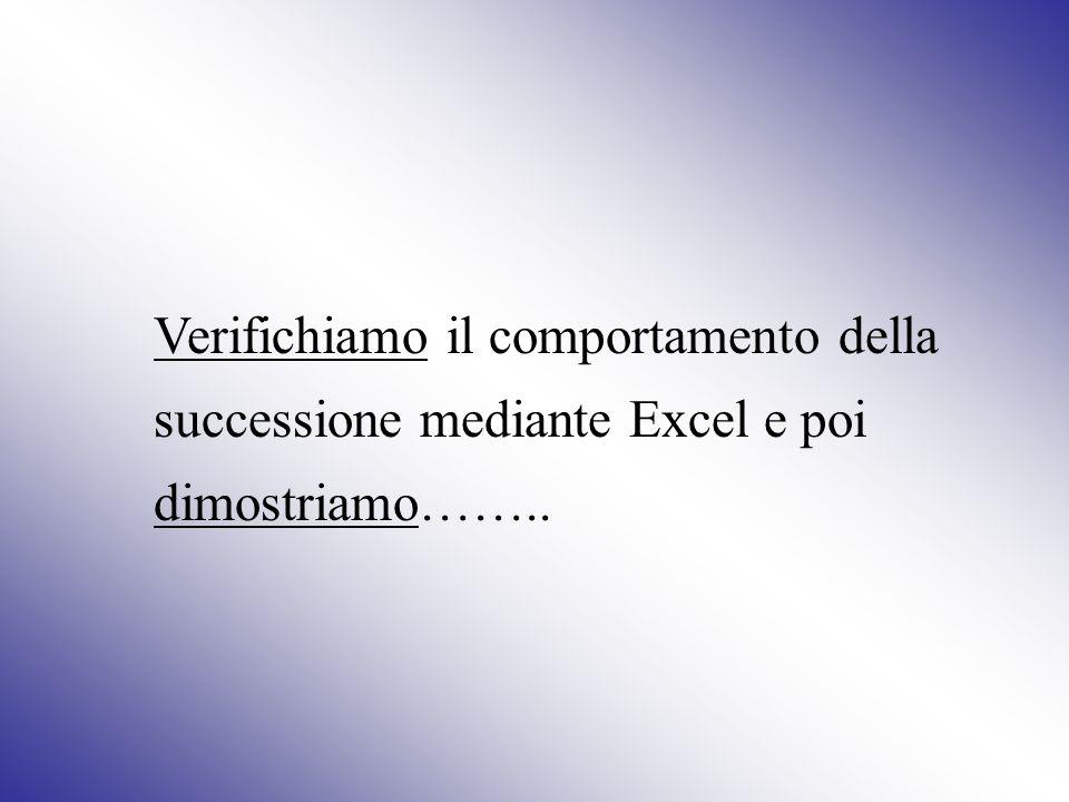 Verifichiamo il comportamento della successione mediante Excel e poi dimostriamo……..