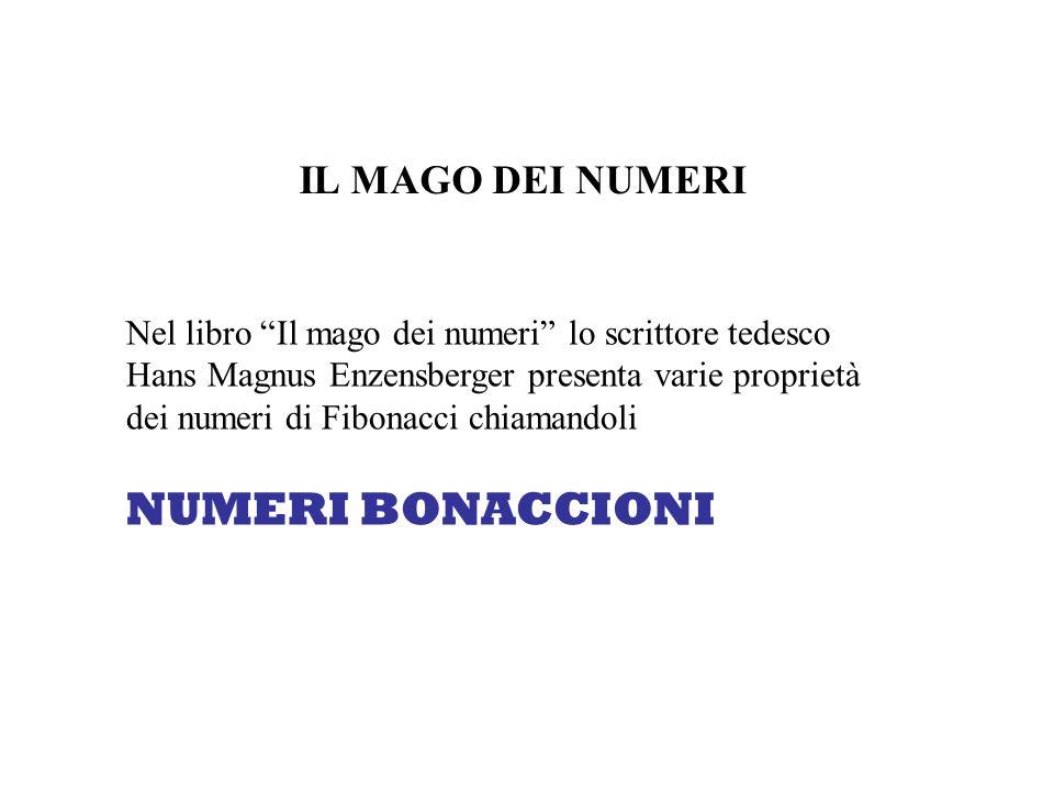 IL MAGO DEI NUMERI Nel libro Il mago dei numeri lo scrittore tedesco Hans Magnus Enzensberger presenta varie proprietà dei numeri di Fibonacci chiaman