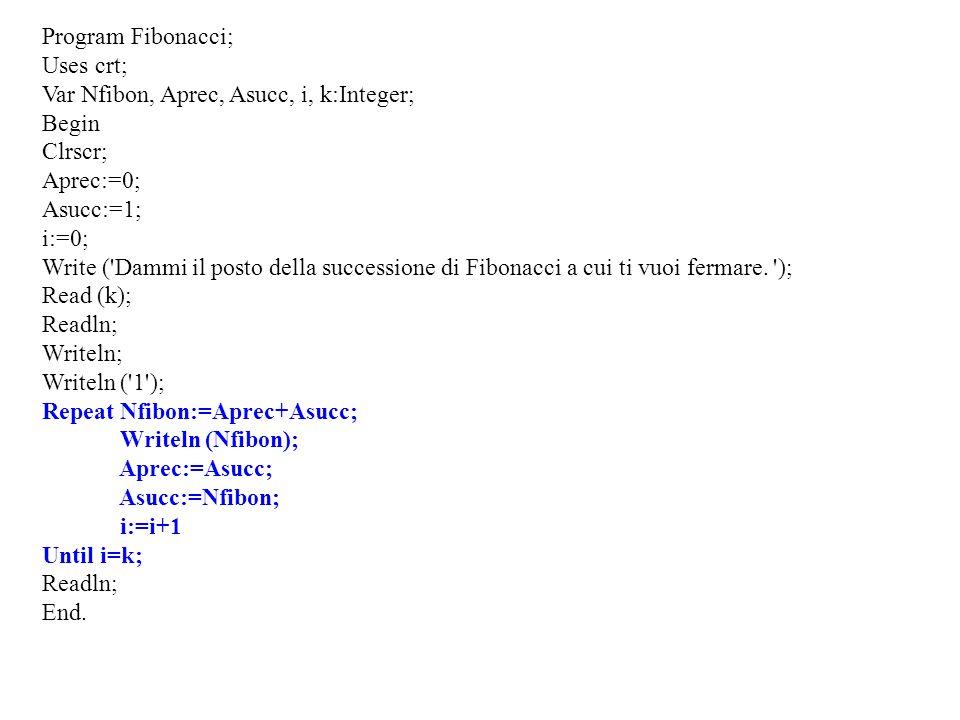 Program Fibonacci; Uses crt; Var Nfibon, Aprec, Asucc, i, k:Integer; Begin Clrscr; Aprec:=0; Asucc:=1; i:=0; Write ('Dammi il posto della successione