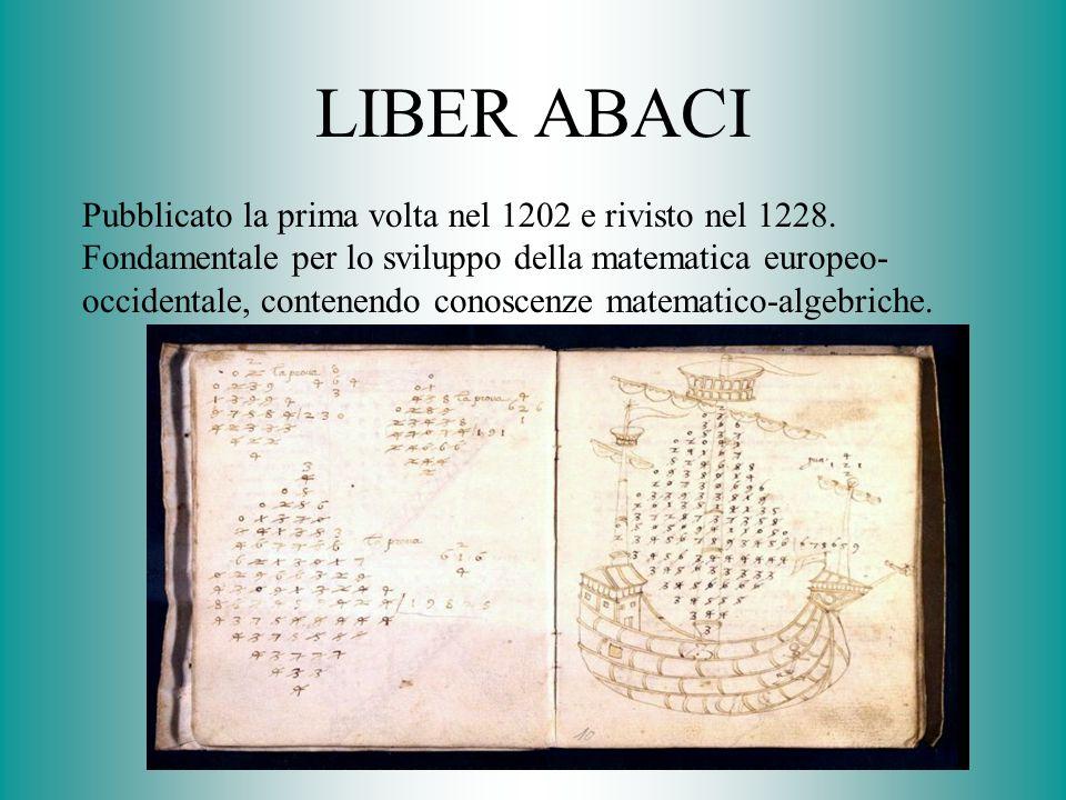 LIBER ABACI Pubblicato la prima volta nel 1202 e rivisto nel 1228. Fondamentale per lo sviluppo della matematica europeo- occidentale, contenendo cono
