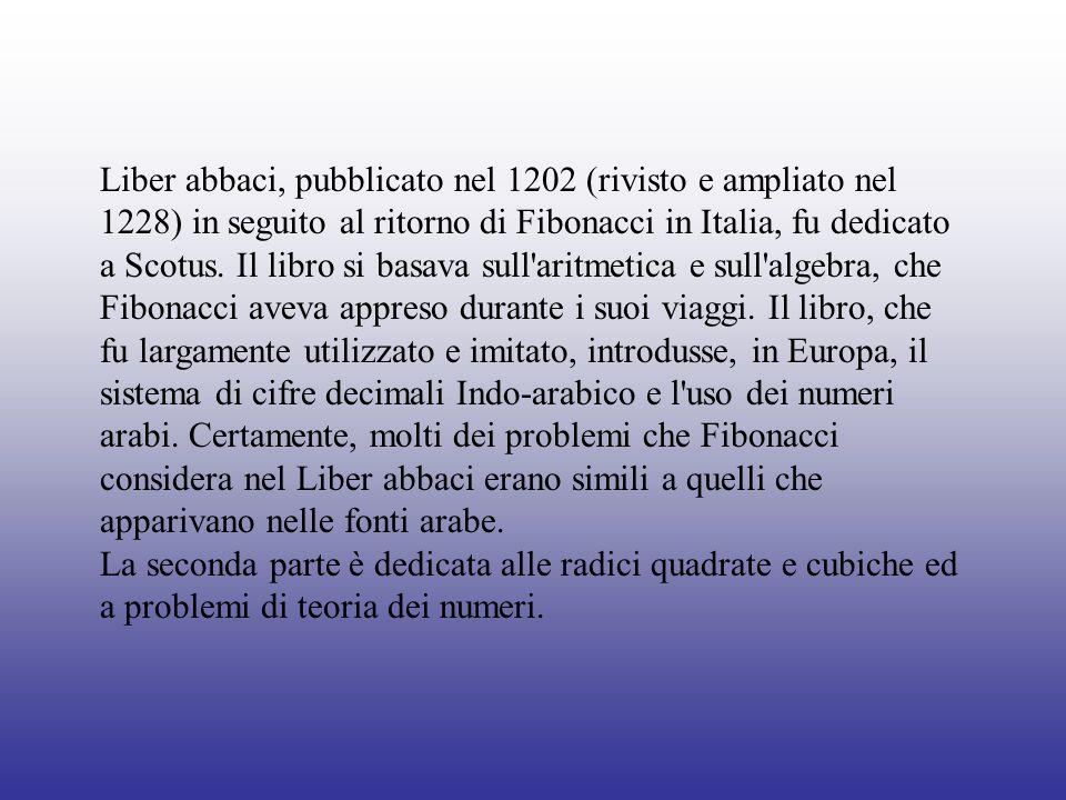 Liber abbaci, pubblicato nel 1202 (rivisto e ampliato nel 1228) in seguito al ritorno di Fibonacci in Italia, fu dedicato a Scotus. Il libro si basava