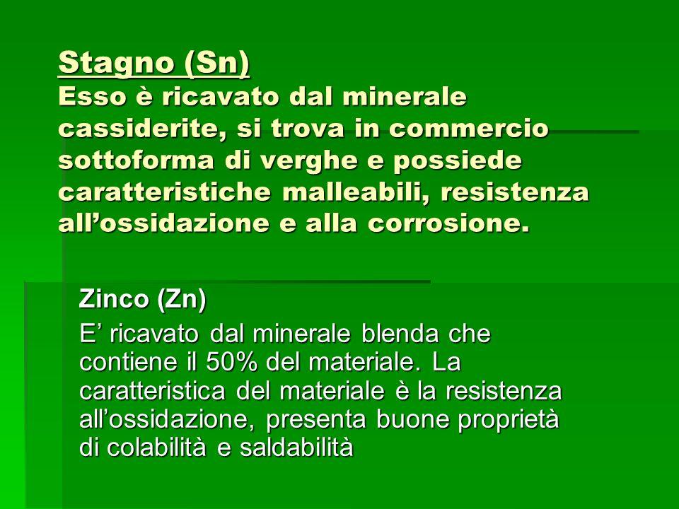 Stagno (Sn) Esso è ricavato dal minerale cassiderite, si trova in commercio sottoforma di verghe e possiede caratteristiche malleabili, resistenza all