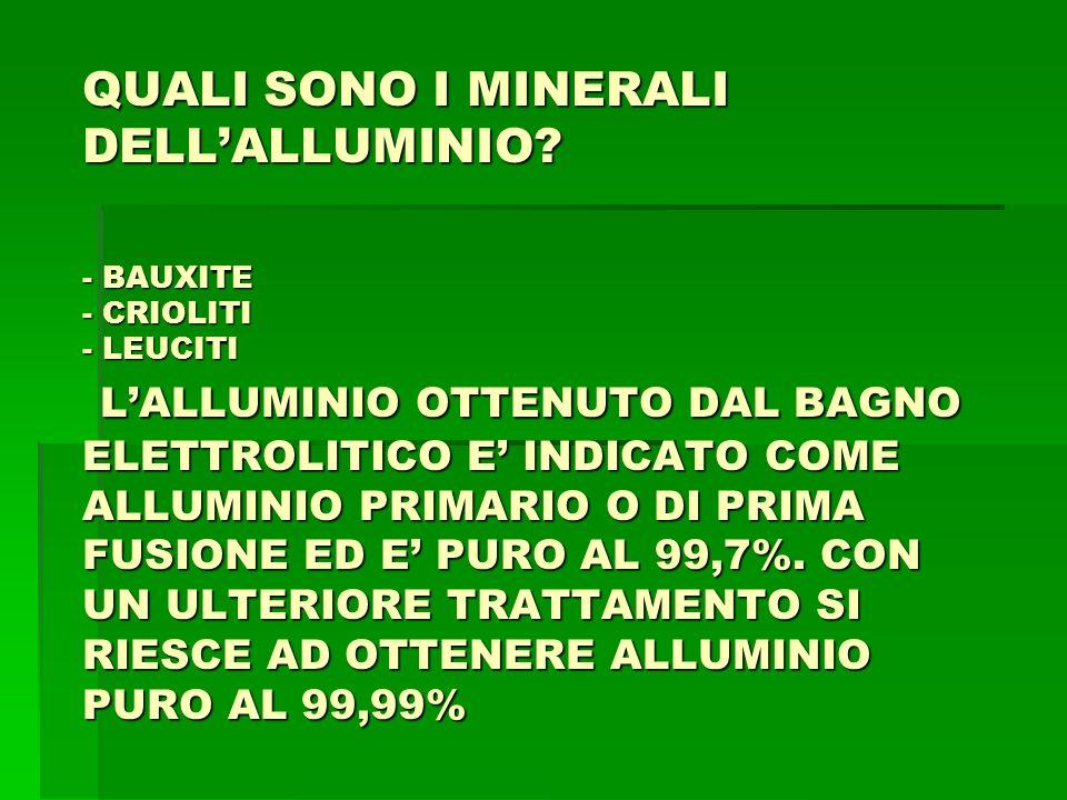 LA CLASSIFICAZIONE UNI-ISO (AL) 1° CATEG.(P) LAVORAZ.