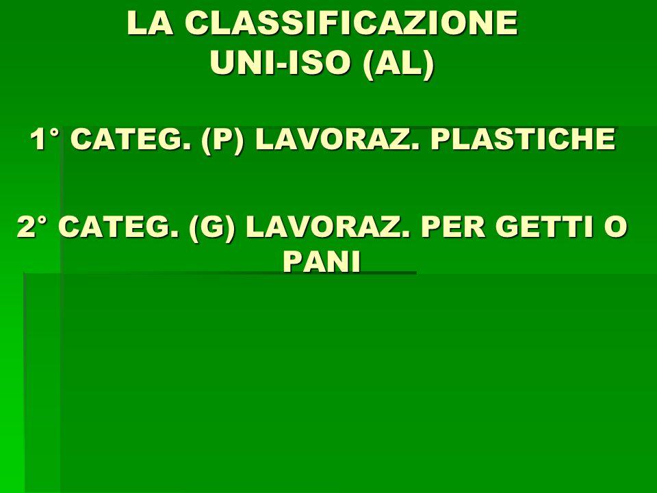 LA CLASSIFICAZIONE UNI-ISO (AL) 1° CATEG. (P) LAVORAZ. PLASTICHE 2° CATEG. (G) LAVORAZ. PER GETTI O PANI