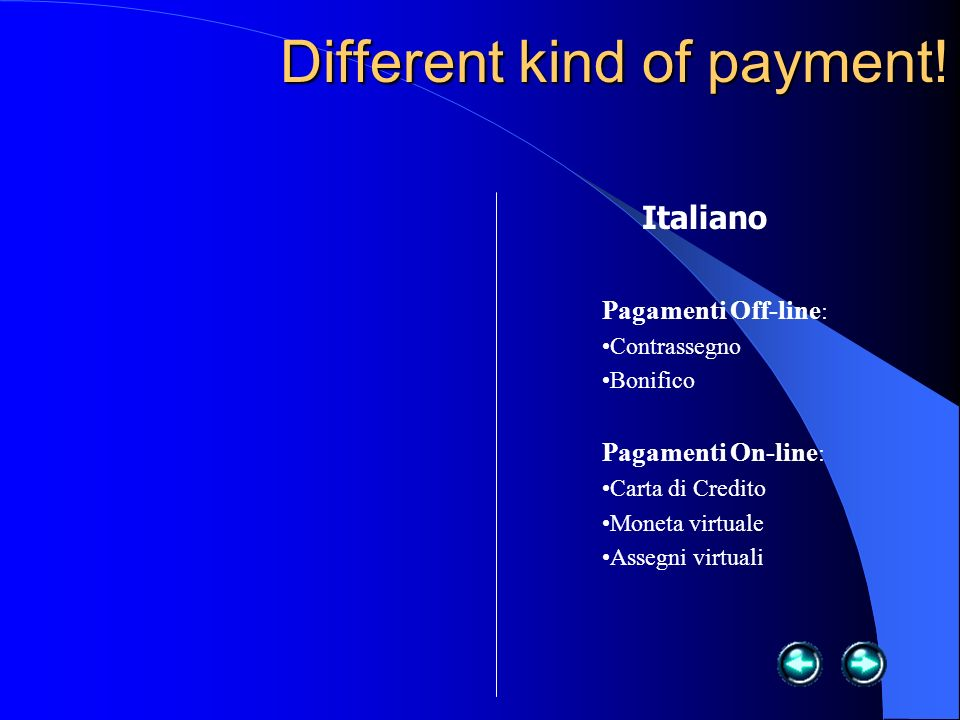 Different kind of payment.