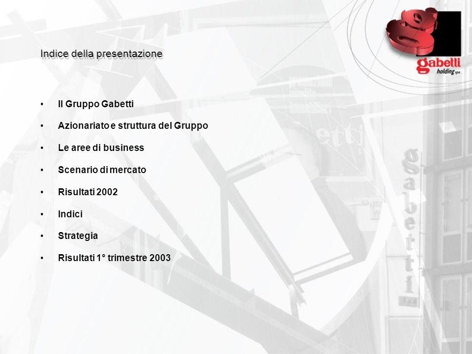 Indice della presentazione Il Gruppo Gabetti Azionariato e struttura del Gruppo Le aree di business Scenario di mercato Risultati 2002 Indici Strategi