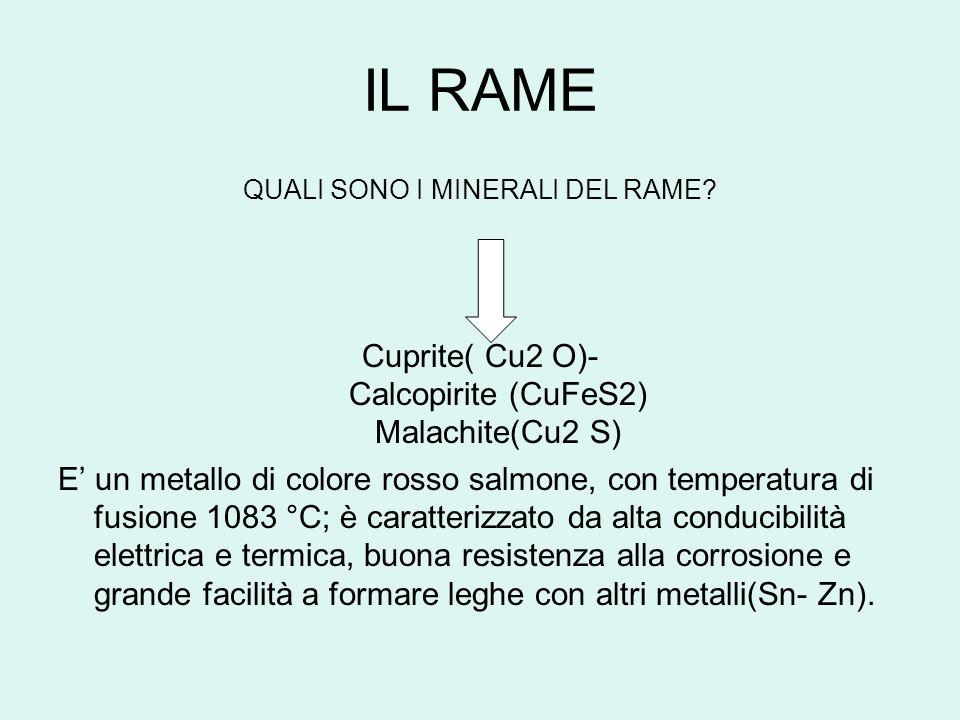 IL RAME QUALI SONO I MINERALI DEL RAME? Cuprite( Cu2 O)- Calcopirite (CuFeS2) Malachite(Cu2 S) E un metallo di colore rosso salmone, con temperatura d