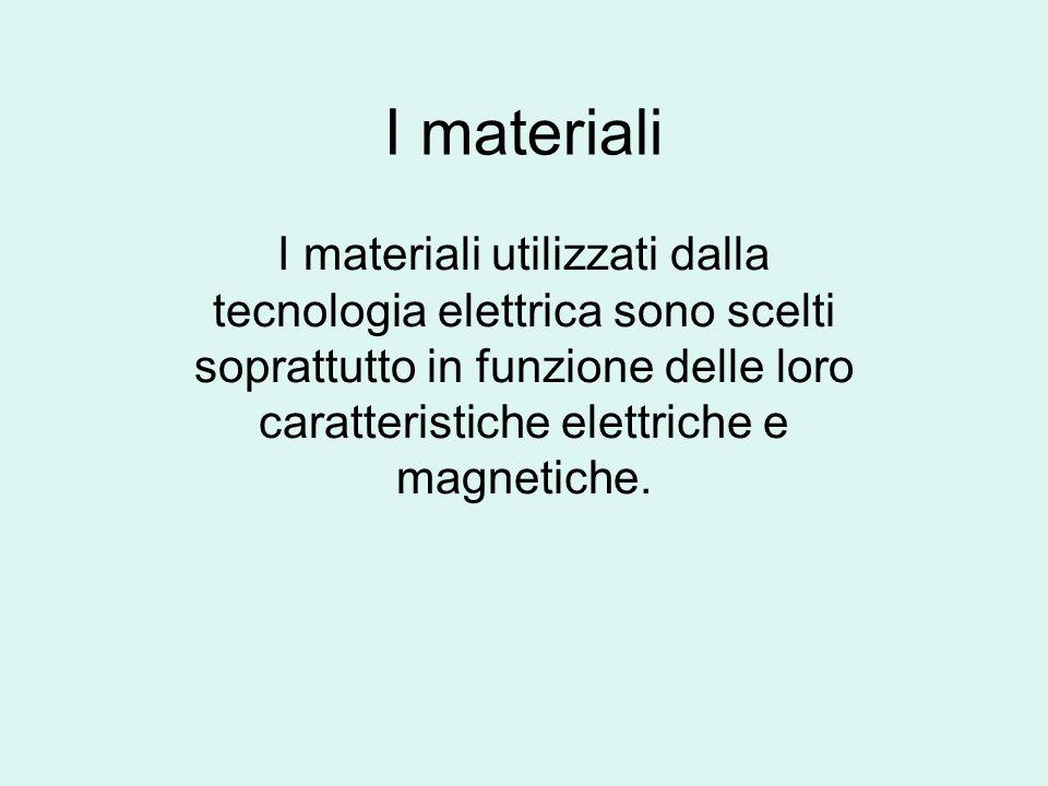 I materiali I materiali utilizzati dalla tecnologia elettrica sono scelti soprattutto in funzione delle loro caratteristiche elettriche e magnetiche.