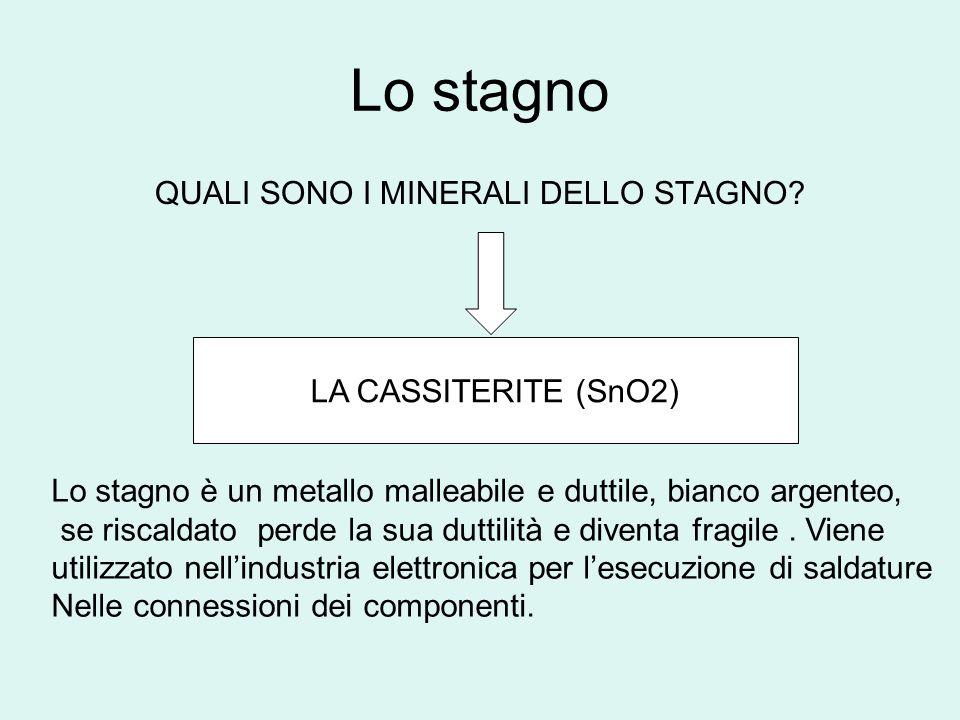 Lo stagno QUALI SONO I MINERALI DELLO STAGNO? LA CASSITERITE (SnO2) Lo stagno è un metallo malleabile e duttile, bianco argenteo, se riscaldato perde