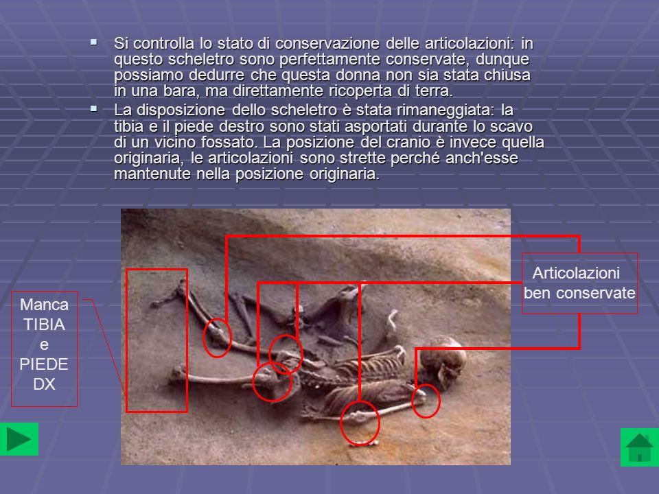 Si controlla lo stato di conservazione delle articolazioni: in questo scheletro sono perfettamente conservate, dunque possiamo dedurre che questa donn