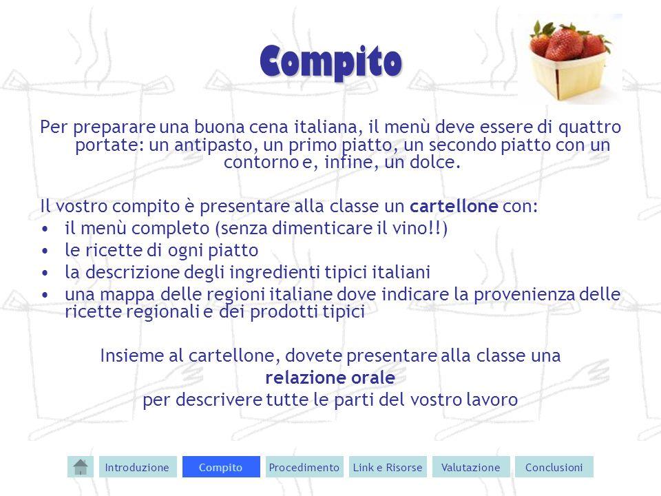 Compito Per preparare una buona cena italiana, il menù deve essere di quattro portate: un antipasto, un primo piatto, un secondo piatto con un contorn