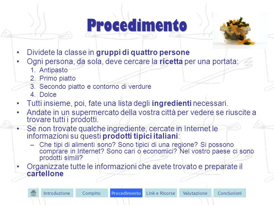 Procedimento Dividete la classe in gruppi di quattro persone Ogni persona, da sola, deve cercare la ricetta per una portata: 1.Antipasto 2.Primo piatt