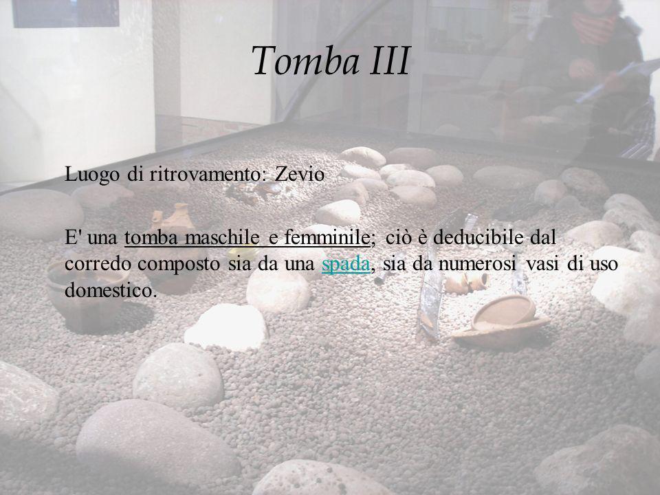 Tomba III Luogo di ritrovamento: Zevio E' una tomba maschile e femminile; ciò è deducibile dal corredo composto sia da una spada, sia da numerosi vasi