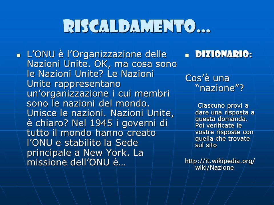 RISCALDAMENTO… LONU è lOrganizzazione delle Nazioni Unite. OK, ma cosa sono le Nazioni Unite? Le Nazioni Unite rappresentano unorganizzazione i cui me