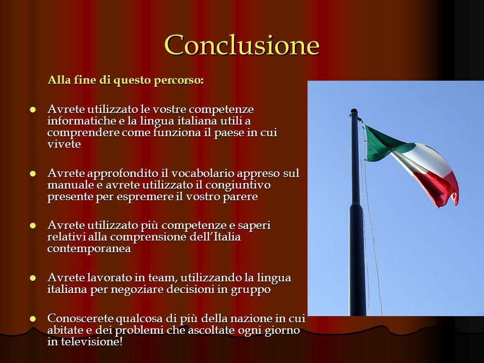 Conclusione Alla fine di questo percorso: Avrete utilizzato le vostre competenze informatiche e la lingua italiana utili a comprendere come funziona i
