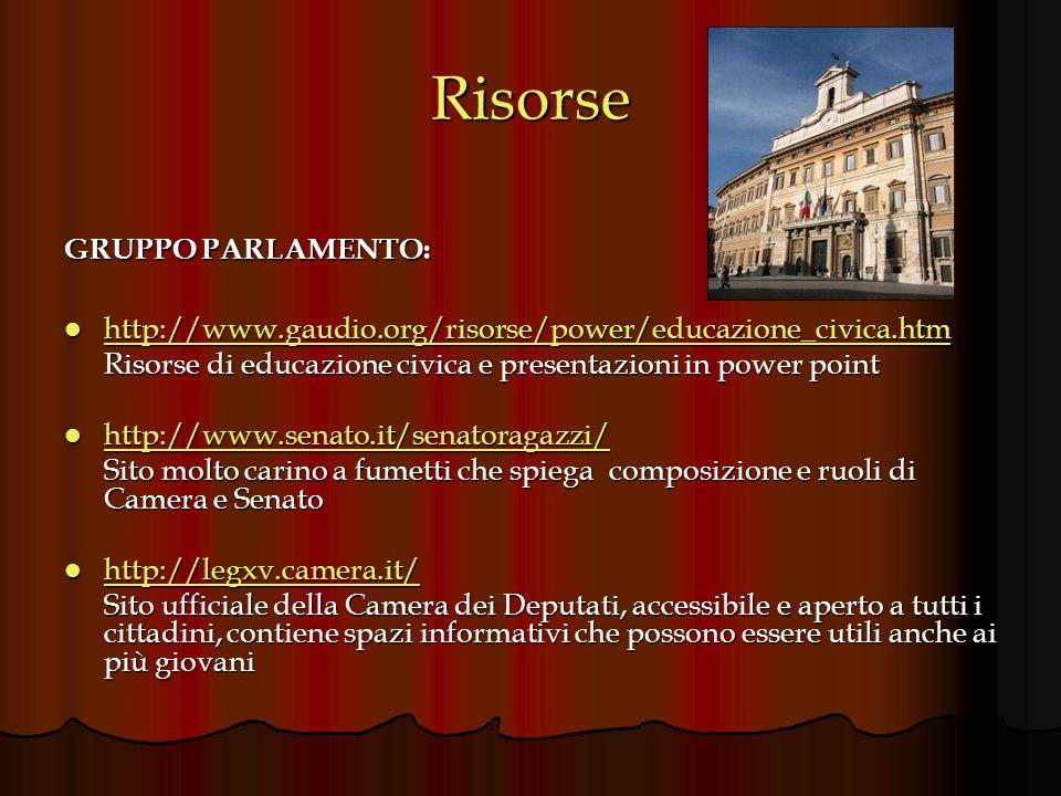 Risorse GRUPPO GOVERNO: http://www.governo.it/ http://www.governo.it/ http://www.governo.it/ Portale ufficiale del governo italiano: spiega chiaramente il ruolo del Presidente del Consiglio e dei Ministri http://it.wikipedia.org/wiki/Governo_italiano http://it.wikipedia.org/wiki/Governo_italiano http://it.wikipedia.org/wiki/Governo_italiano Breve e chiara spiegazione del potere esecutivo in Italia http://www.rete.toscana.it/link/link_governo_it.htm http://www.rete.toscana.it/link/link_governo_it.htm http://www.rete.toscana.it/link/link_governo_it.htm Link ai maggiori organi istituzionali e ministeri