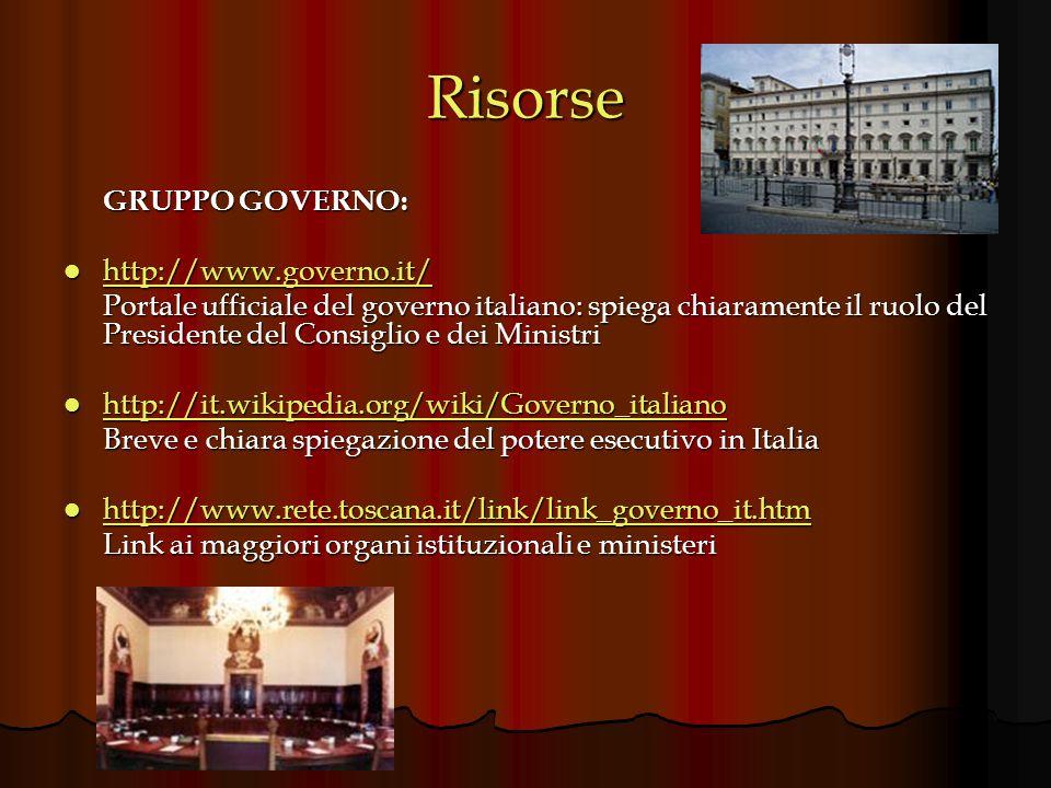 Risorse GRUPPO GOVERNO: http://www.governo.it/ http://www.governo.it/ http://www.governo.it/ Portale ufficiale del governo italiano: spiega chiarament