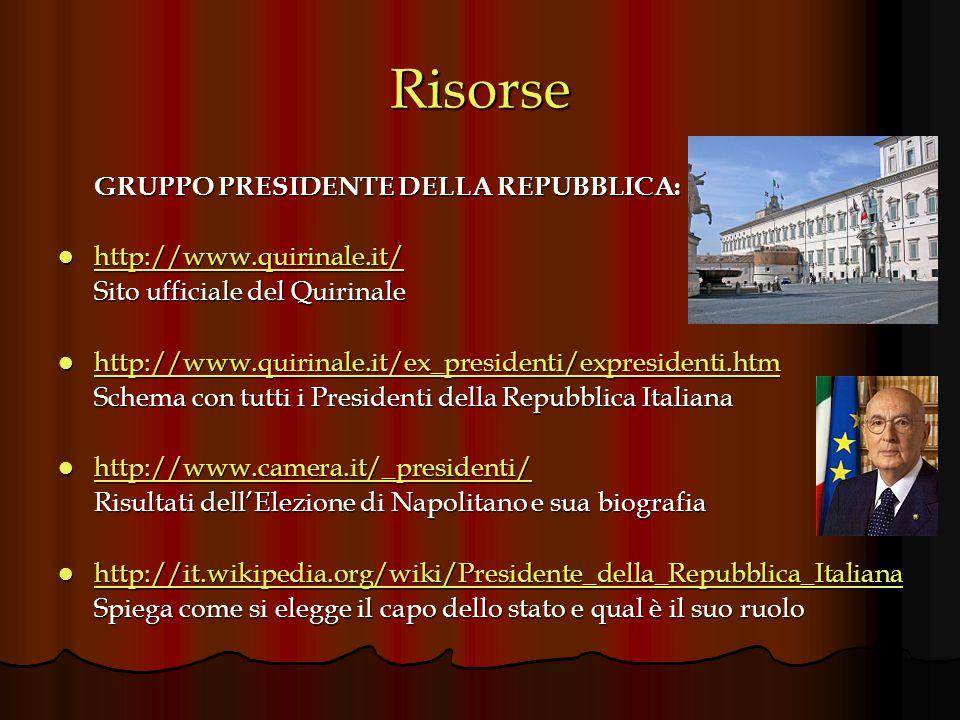 Risorse GRUPPO PRESIDENTE DELLA REPUBBLICA: http://www.quirinale.it/ http://www.quirinale.it/ http://www.quirinale.it/ Sito ufficiale del Quirinale ht