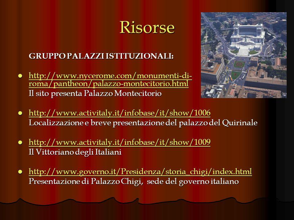 Risorse GRUPPO PALAZZI ISTITUZIONALI: http://www.nycerome.com/monumenti-di- roma/pantheon/palazzo-montecitorio.html http://www.nycerome.com/monumenti-