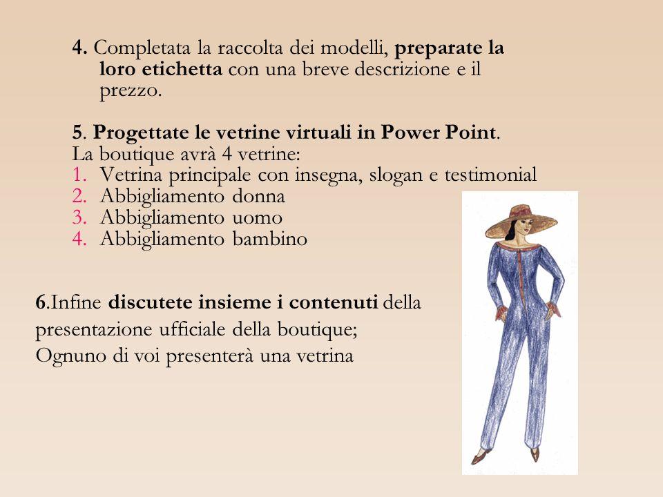 4. Completata la raccolta dei modelli, preparate la loro etichetta con una breve descrizione e il prezzo. 5. Progettate le vetrine virtuali in Power P