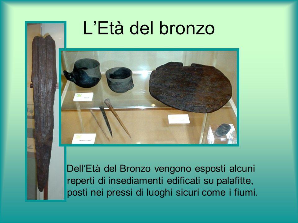 LEtà del bronzo DellEtà del Bronzo vengono esposti alcuni reperti di insediamenti edificati su palafitte, posti nei pressi di luoghi sicuri come i fiu