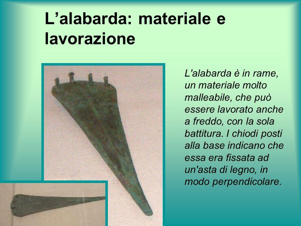 Lalabarda: valore simbolico Essendo molto sottile è improbabile che fosse usata come arma; si pensa invece ad un valore simbolico visto il suo ritrovamento in una tomba.