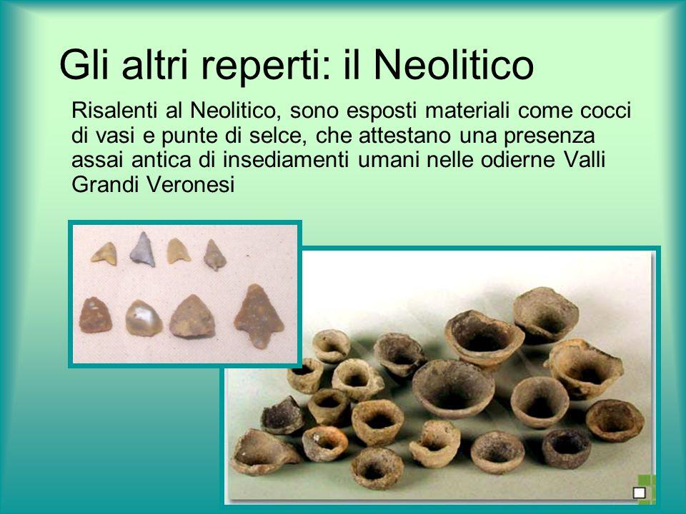 Gli altri reperti: il Neolitico Risalenti al Neolitico, sono esposti materiali come cocci di vasi e punte di selce, che attestano una presenza assai a