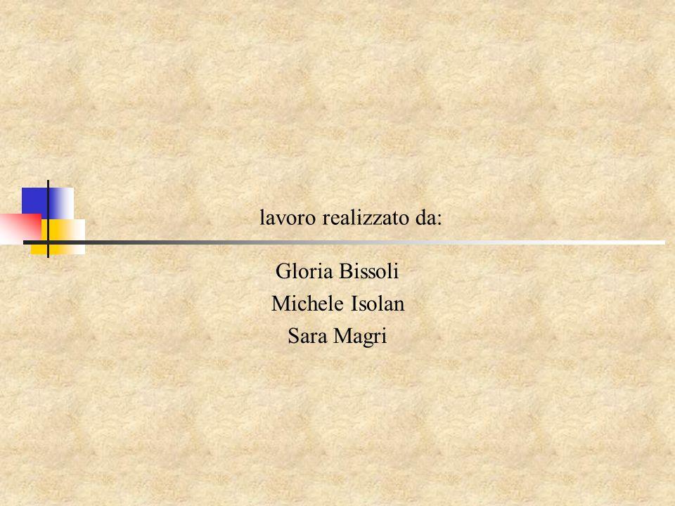 lavoro realizzato da: Gloria Bissoli Michele Isolan Sara Magri
