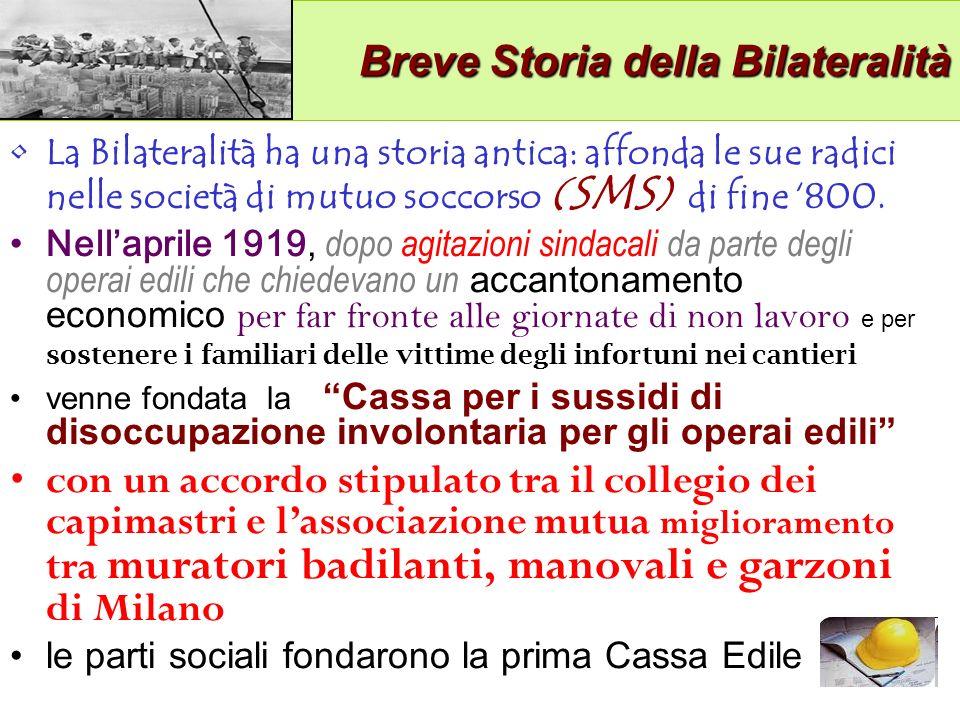 Breve Storia della Bilateralità Breve Storia della Bilateralità La Bilateralità ha una storia antica: affonda le sue radici nelle società di mutuo soccorso ( SMS ) di fine 800.
