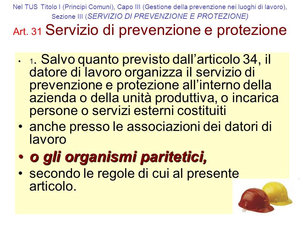 Nel TUS Titolo I (Principi Comuni), Capo III (Gestione della prevenzione nei luoghi di lavoro), Sezione III ( SERVIZIO DI PREVENZIONE E PROTEZIONE) Art.