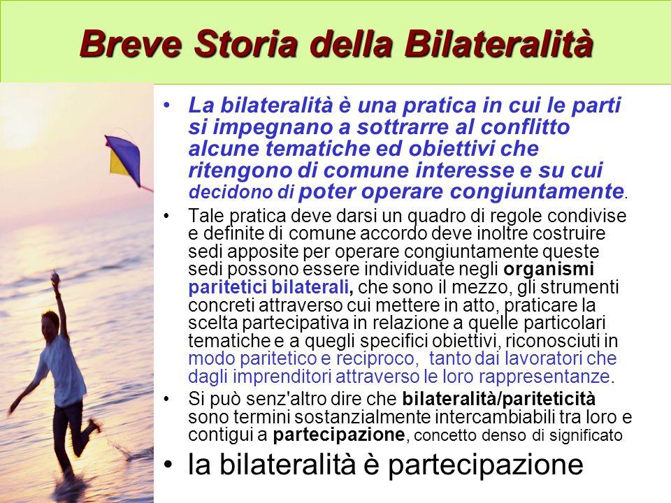 Breve Storia della Bilateralità Breve Storia della Bilateralità La bilateralità è una pratica in cui le parti si impegnano a sottrarre al conflitto alcune tematiche ed obiettivi che ritengono di comune interesse e su cui decidono di poter operare congiuntamente.