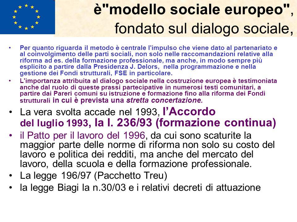 è modello sociale europeo , fondato sul dialogo sociale, Per quanto riguarda il metodo è centrale l impulso che viene dato al partenariato e al coinvolgimento delle parti sociali, non solo nelle raccomandazioni relative alla riforma ad es.