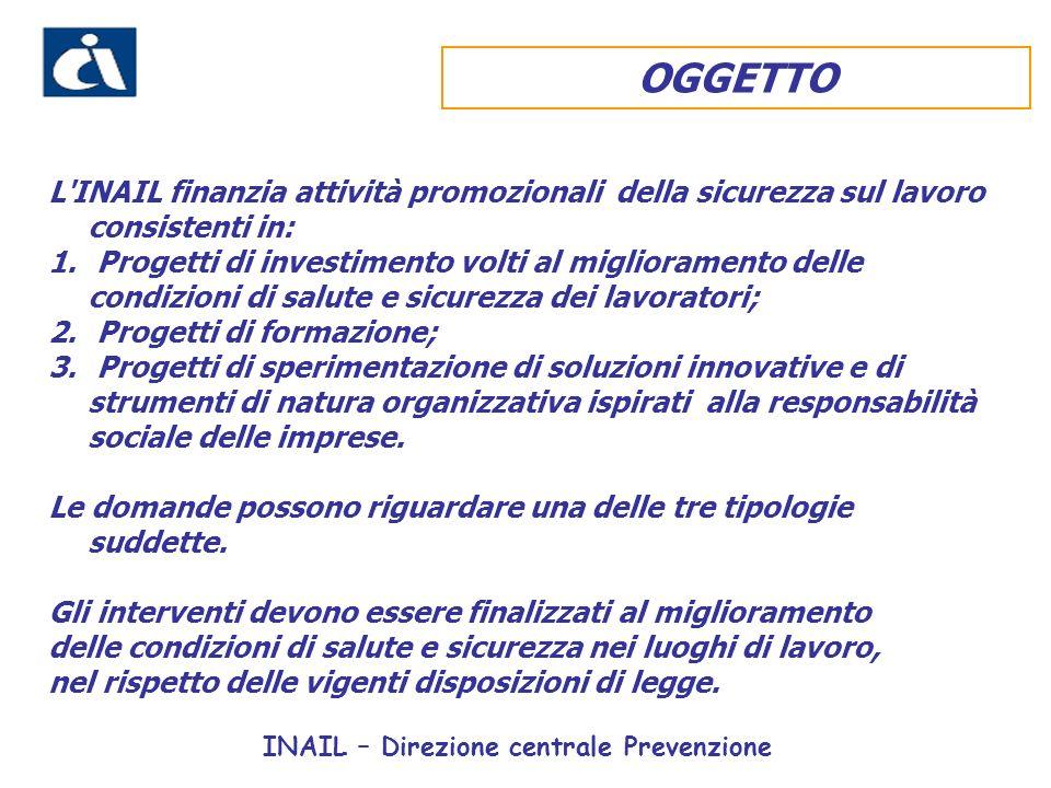 INAIL – Direzione centrale Prevenzione OGGETTO L INAIL finanzia attività promozionali della sicurezza sul lavoro consistenti in: 1.