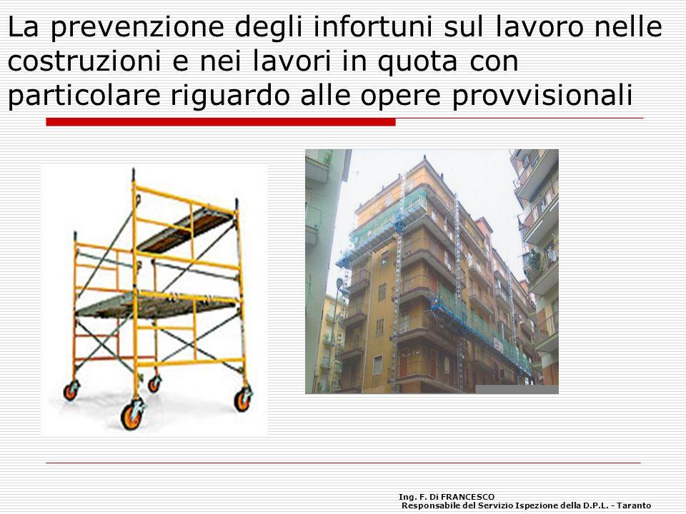 La prevenzione degli infortuni sul lavoro nelle costruzioni e nei lavori in quota con particolare riguardo alle opere provvisionali Ing. F. Di FRANCES