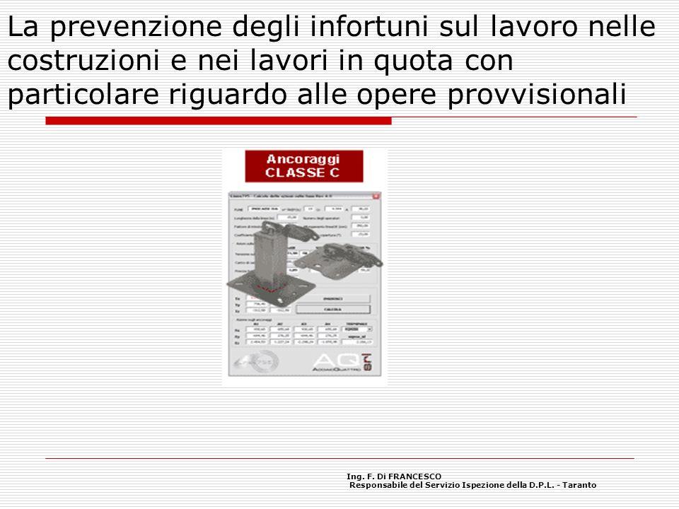 La prevenzione degli infortuni sul lavoro nelle costruzioni e nei lavori in quota con particolare riguardo alle opere provvisionali Ing.