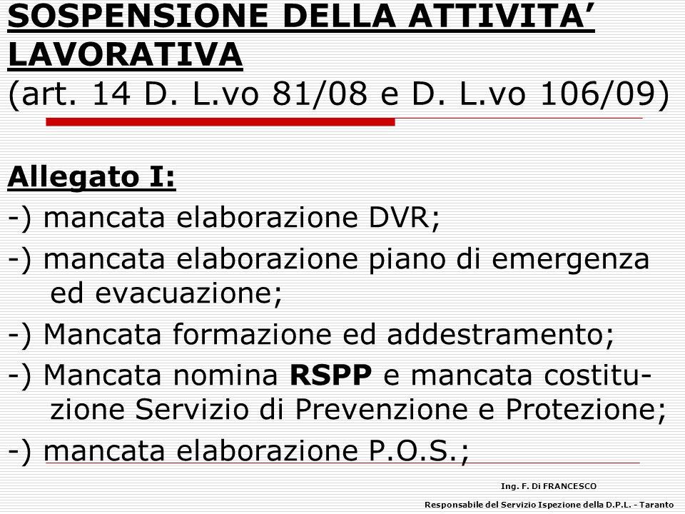 SOSPENSIONE DELLA ATTIVITA LAVORATIVA (art.14 D. L.vo 81/08 e D.