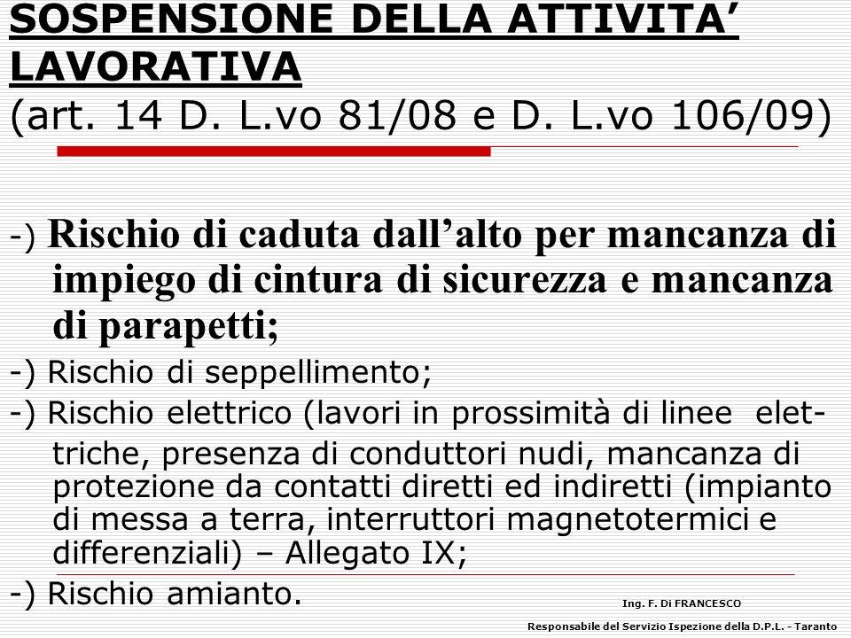 SOSPENSIONE DELLA ATTIVITA LAVORATIVA (art. 14 D. L.vo 81/08 e D. L.vo 106/09) -) Rischio di caduta dallalto per mancanza di impiego di cintura di sic