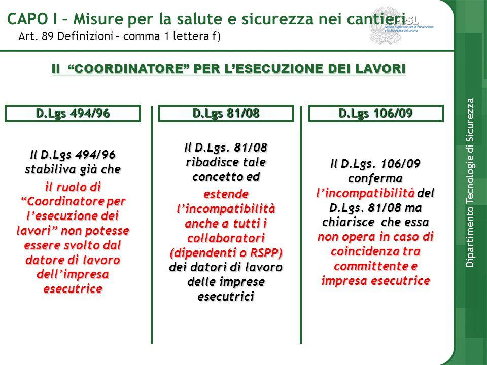 Art. 89 Definizioni – comma 1 lettera f) Dipartimento Tecnologie di Sicurezza Il D.Lgs 494/96 stabiliva già che il ruolo di Coordinatore per lesecuzio