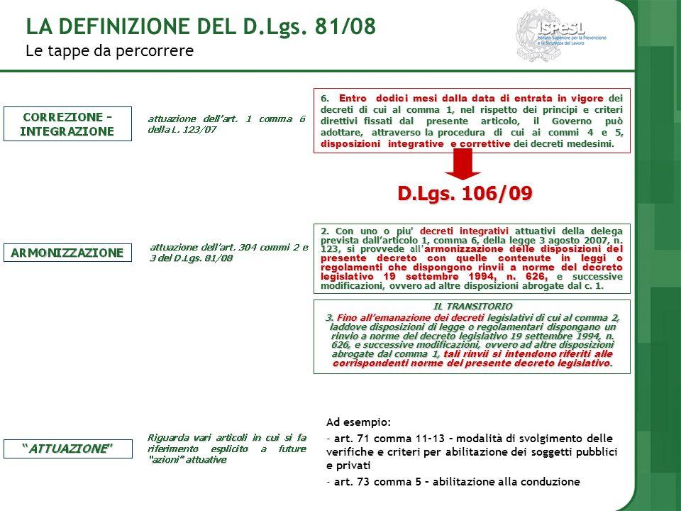 Le tappe da percorrere LA DEFINIZIONE DEL D.Lgs. 81/08 6. Entro dodici mesi dalla data di entrata in vigore dei decreti di cui al comma 1, nel rispett