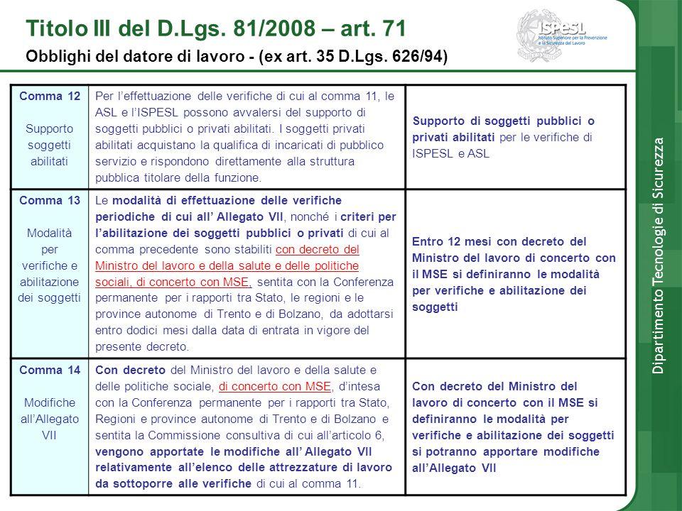 Comma 12 Supporto soggetti abilitati Per leffettuazione delle verifiche di cui al comma 11, le ASL e lISPESL possono avvalersi del supporto di soggett