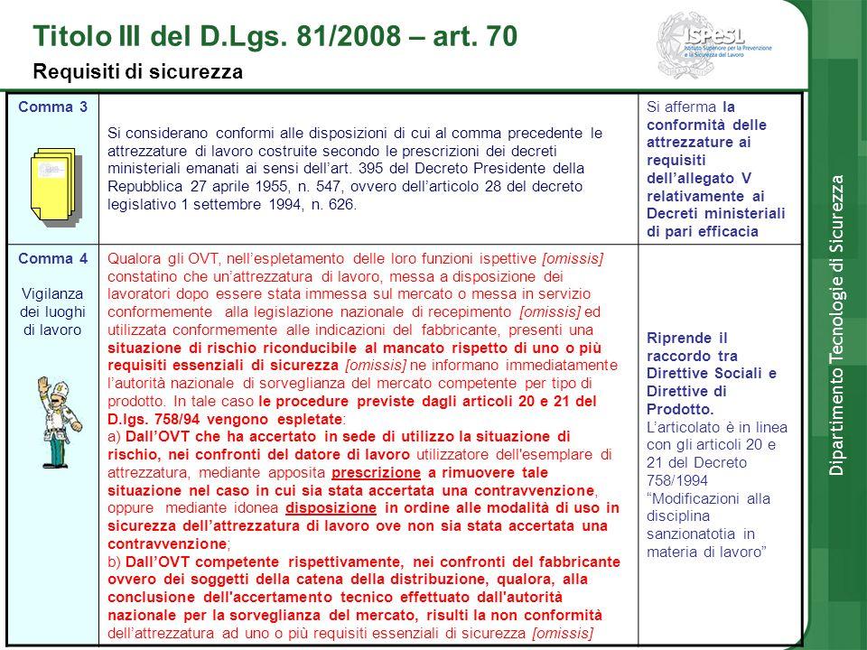 Comma 3 Si considerano conformi alle disposizioni di cui al comma precedente le attrezzature di lavoro costruite secondo le prescrizioni dei decreti m