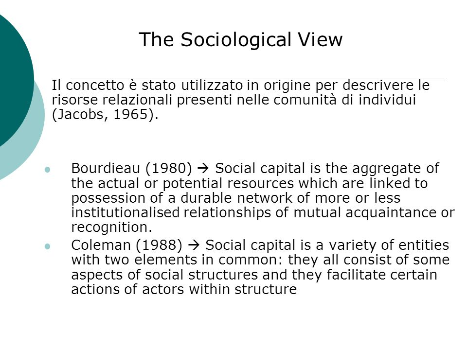 The theory of social capital: conceptual aspects The two principal perspectives on Social Capital: The Sociological View The Management View
