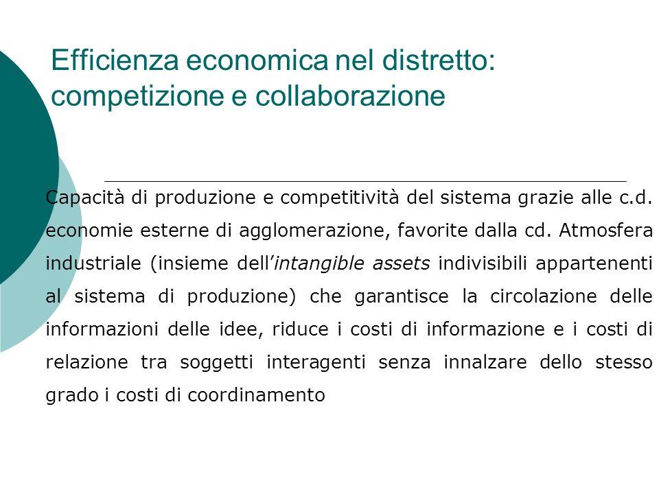 Rilevanza dei Distretti Industriali nel tessuto industriale italiano Coinvolgono 52.000 imprese e forniscono 60-70% dellintera produzione industriale