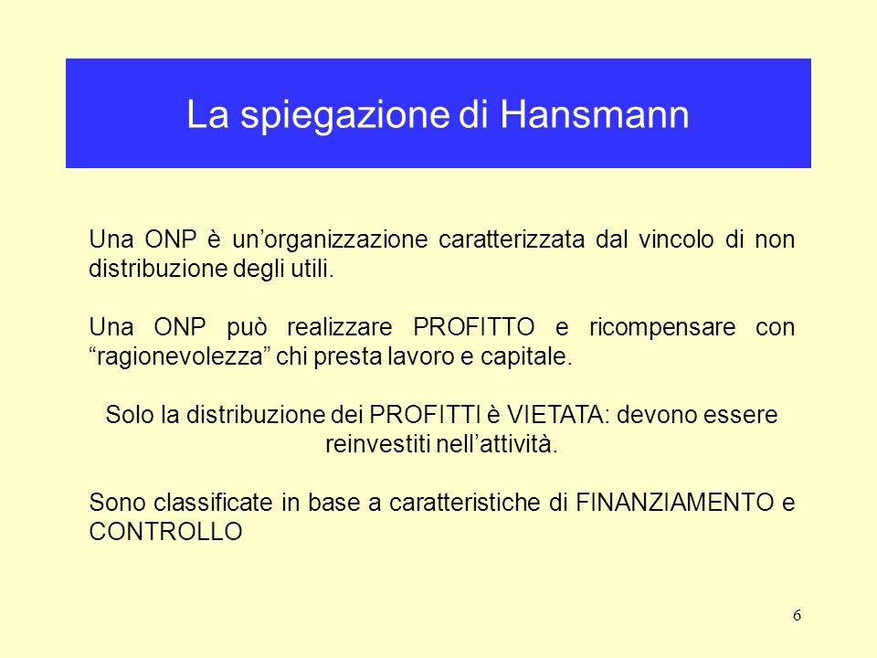 6 La spiegazione di Hansmann Una ONP è unorganizzazione caratterizzata dal vincolo di non distribuzione degli utili.