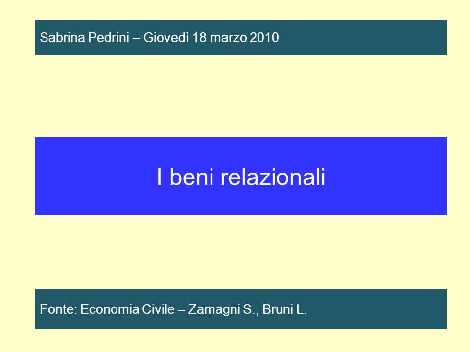 I beni relazionali Fonte: Economia Civile – Zamagni S., Bruni L.