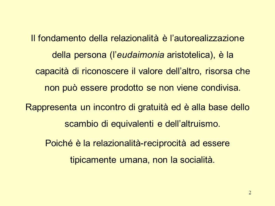 Il fondamento della relazionalità è lautorealizzazione della persona (leudaimonia aristotelica), è la capacità di riconoscere il valore dellaltro, risorsa che non può essere prodotto se non viene condivisa.