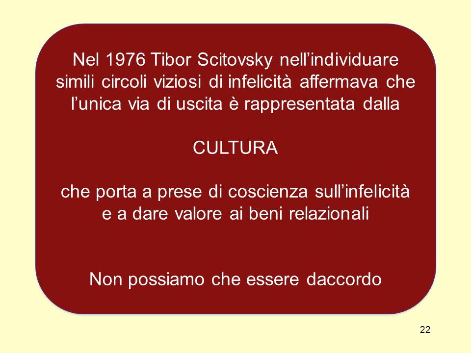 22 Nel 1976 Tibor Scitovsky nellindividuare simili circoli viziosi di infelicità affermava che lunica via di uscita è rappresentata dalla CULTURA che porta a prese di coscienza sullinfelicità e a dare valore ai beni relazionali Non possiamo che essere daccordo Nel 1976 Tibor Scitovsky nellindividuare simili circoli viziosi di infelicità affermava che lunica via di uscita è rappresentata dalla CULTURA che porta a prese di coscienza sullinfelicità e a dare valore ai beni relazionali Non possiamo che essere daccordo